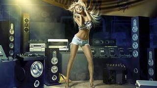 Foto rubia chica amante de la música